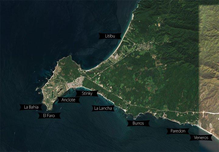 surfing punta mita spots map